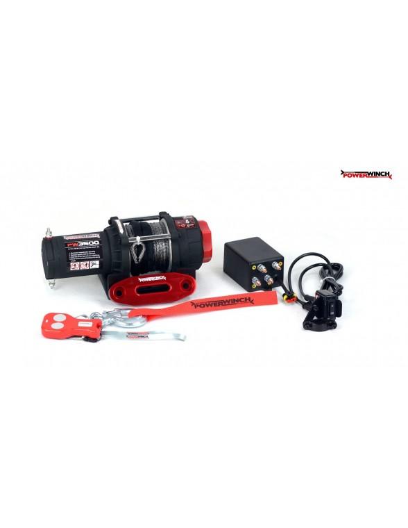 Treuil Electrique PowerWinch 1588 Kg 12v corde synthétique et telecomande
