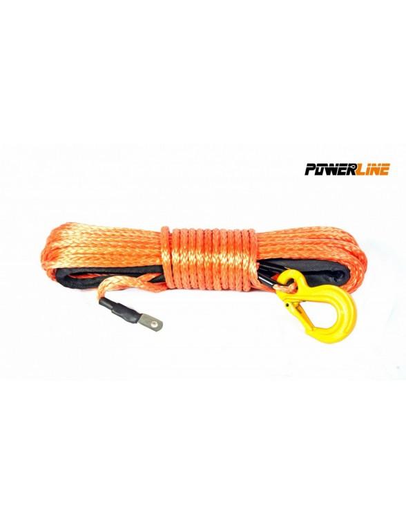 Corde synthétique orange pour treuil diam. 8mm x 28m avec crochet