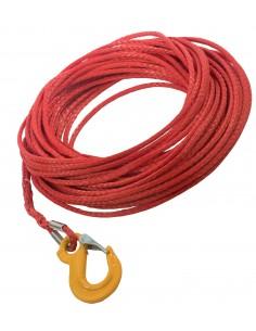 Corde synthétique pour treuil diam. 6mm long.15m avec crochet
