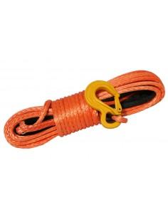 Corde synthétique diam. 10mm long.14m pour treuil  avec crochet