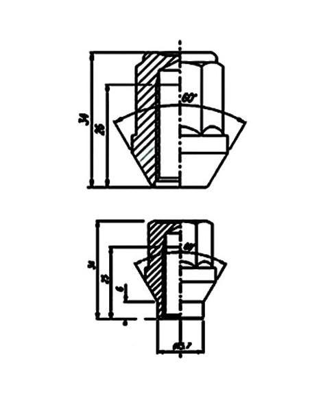 ECROU cone 60deg NOIR 16x1.50