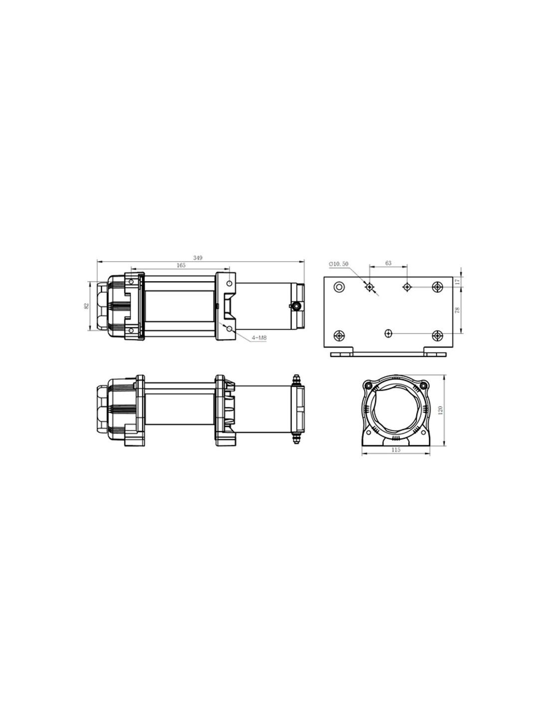 treuil electrique powerwinch 2041 kg 12v avec radio commande