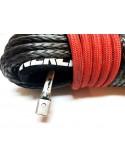 Corde synthétique Noir pour treuil diam. 12mm x 28m avec crochet C-Link