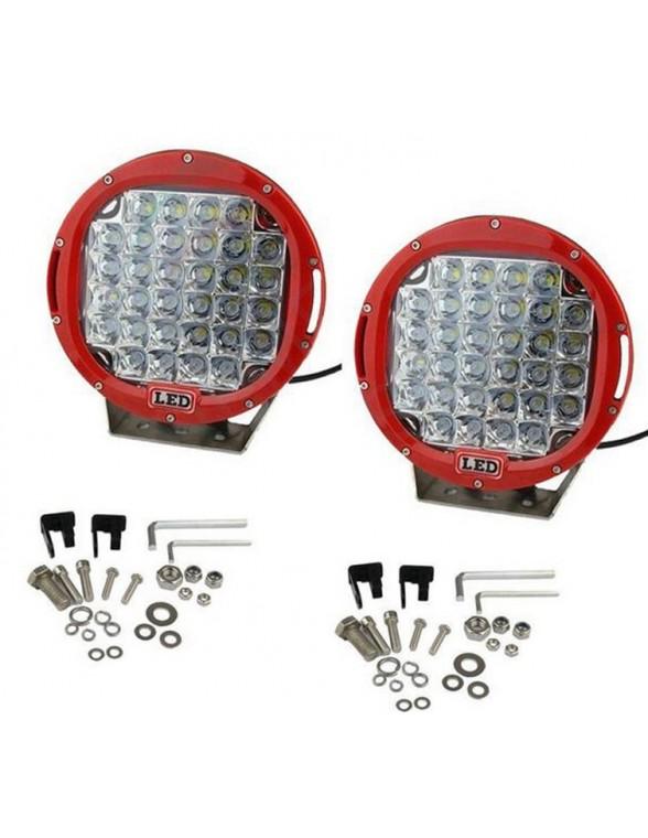 Phares LED de travail 185W chacun diam 225 mm rouge