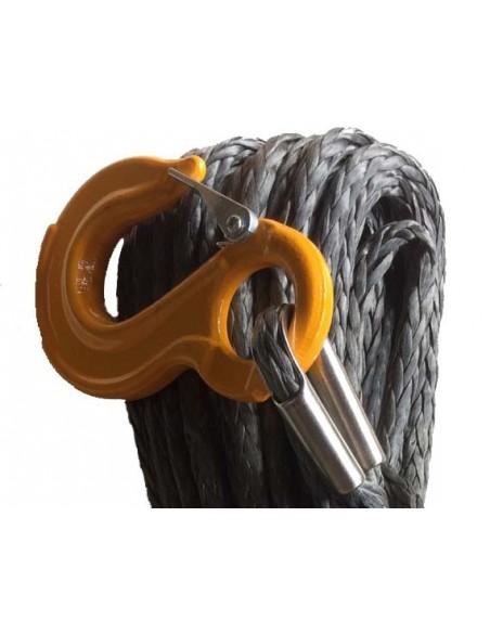 Corde synthétique diam. 10mm long.24m pour treuil  avec crochet