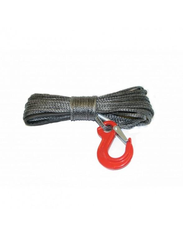 Corde synthétique pour treuil diam. 6mm long.30m avec crochet