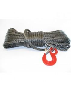 Corde synthétique pour treuil diam. 8mm long.20m avec crochet