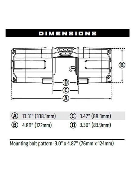 Treuil Warn AXON 35-S  1588kg 12v corde synthétique