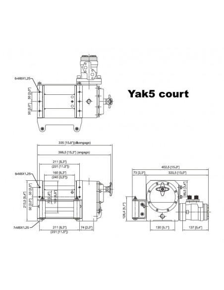 Treuil ComeUp YAK 5 Hydraulique 2300kg court