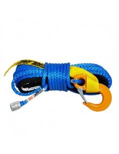 Corde synthétique bleu pour treuil diam. 6mm x 15m + crochet