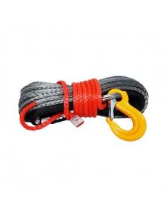 Corde synthétique grise pour treuil diam. 6mm x 15m + crochet